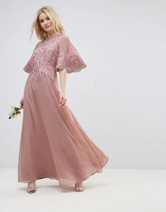 Read more about Asos design bridesmaid lace applique flutter sleeve maxi dress - nude