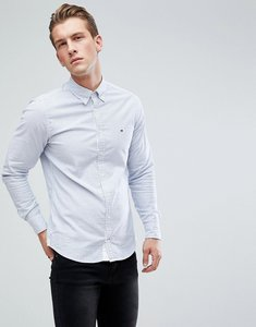 Read more about Tommy hilfiger stripe oxford shirt with stretch in slim fit in blue white - shirt blue