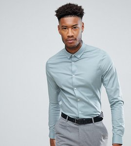 Read more about Asos tall skinny shirt in slate with button down collar - slate blue