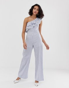 Read more about Lost ink one shoulder wide leg jumpsuit in stripe - white stripe