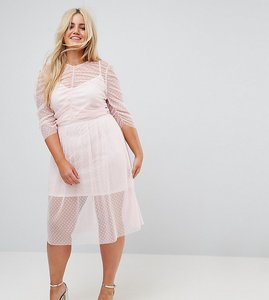 Read more about Asos curve ruched midi dress in spot mesh - pink