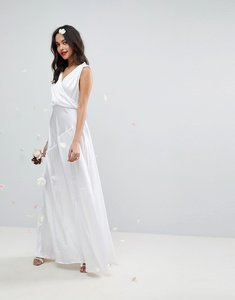 Read more about Asos edition deep plunge soft wedding maxi dress with ruching detail - white