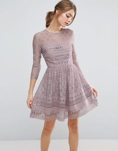 Read more about Asos premium lace skater dress - lilac