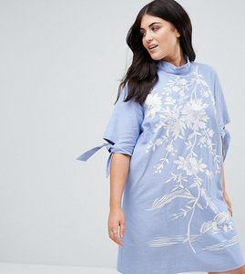 Read more about Asos curve chambray shift dress with embroidery - blue
