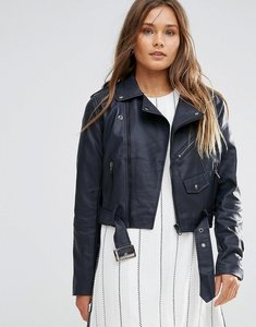 Read more about Lunik pu biker jacket - navy