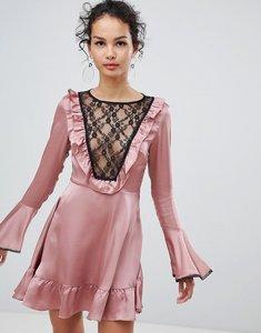 Read more about Glamorous satin skater dress with lace bib detail - pink satin