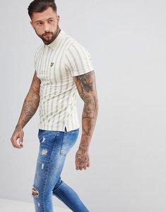 Read more about Lyle scott deckchair stripe polo shirt in cream - seashell white