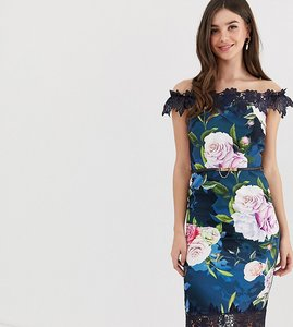 Read more about Paper dolls tall bardot midi dress with lace detail in floral print