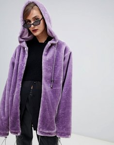 Read more about Story of lola oversized zip front hooded jacket in faux fur - lilac