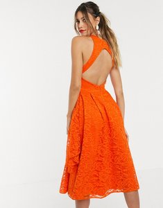 Read more about Asos design fold detail lace prom dress with open back