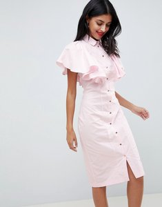 Read more about Closet london pencil dress with frilled sleeves - pale pink