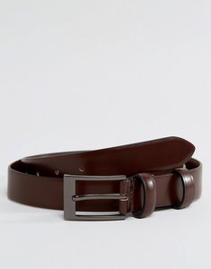 Read more about Smith and canova leather skinny belt in brown high shine - brown