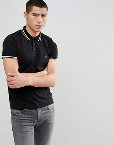 Read more about French connection tipped pique polo shirt - black