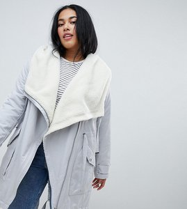 Read more about Asos design curve waterfall parka with borg liner - grey
