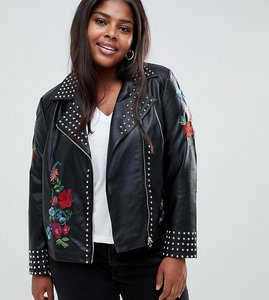 Read more about Koko studded faux leather jacket - black