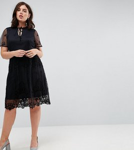 Read more about Lost ink plus lace skater dress - black