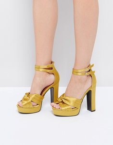 Read more about Glamorous yellow double strap platform heeled sandals - gold