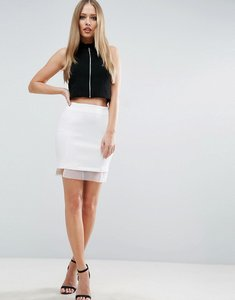 Read more about Asos mini skirt with organza trim - white