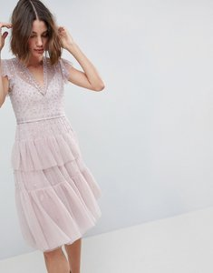 Read more about Needle thread layered midi dress with lace detail - lilac