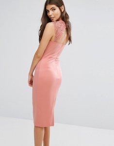 Read more about Club l sweetheart scuba detail lace crochet midi dress - dusky pink