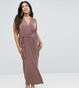 Read more about Club l plus waterfall drape detail maxi dress - taupe