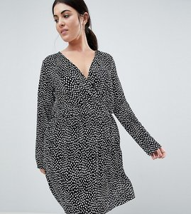 Read more about Asos design curve plisse wrap dress in blurred spot print - multi