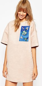 Read more about A v robertson for asos black shift dress with embellished panel - nude