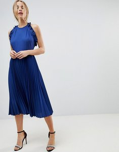 Read more about Asos pleated midi dress with ruffle open back - blue
