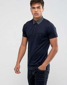 Read more about French connection polo shirt with contrast woven collar - navy