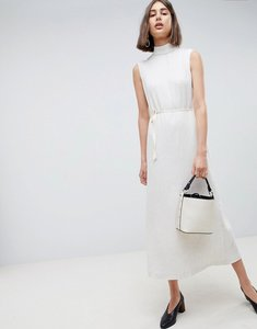 Read more about Asos white pleated midaxi dress with tie detail - cream