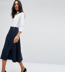 Read more about Asos tall tailored midi skirt in pleat solid - navy