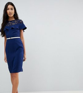 Read more about Paper dolls tall lace insert pencil dress with frill detail and belt - navy