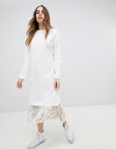 Read more about Asos design midi dress with 2 in 1 floral mesh hem - white