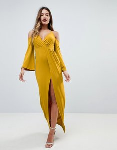Read more about Asos slinky deep plunge cold shoulder kimono maxi dress - mustard