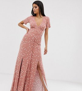 Read more about Asos design tall button through maxi tea dress with splits in spot print