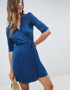 Read more about Asos design mini plisse dress with button detail - dusky blue