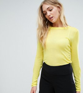 Read more about Asos tall jumper with crew neck in sheer knit - neon yellow