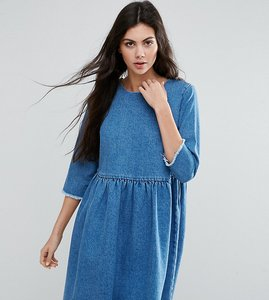 Read more about Asos tall denim smock dress in midwash blue - mid wash blue