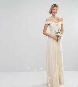 Read more about Tfnc tall wedding cold shoulder embellished maxi dress - ecru