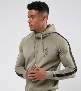 Read more about Gym king track hoodie in khaki with black stripe - khaki