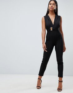 Read more about Rare london tailored eyelet jumpsuit - black