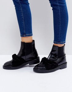 Read more about Asos angelic leather bow ankle boots - black box leather