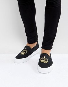 Read more about Asos slip on plimsolls in black canvas with crown embroidery - black