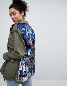 Read more about Bershka sequined cargo jacket in khaki - khaki