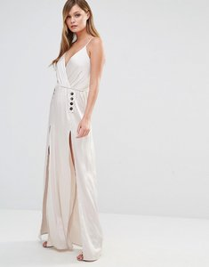 Read more about Dark pink silky slip maxi dress with button detail - taupe metallic