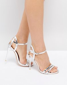 Read more about True decadence silver metallic strappy heeled sandals - silver mirror metall