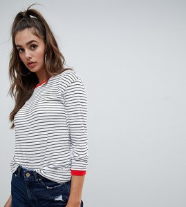 Read more about Noisy may tall stripe sweatshirt with contrast ringer