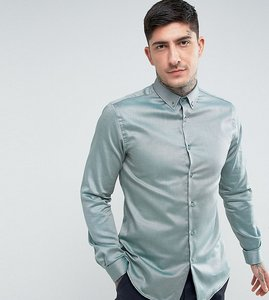 Read more about Heart dagger skinny shirt with button down collar - green