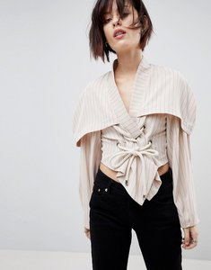 Read more about Asos white striped top with rope tie up detail - stone