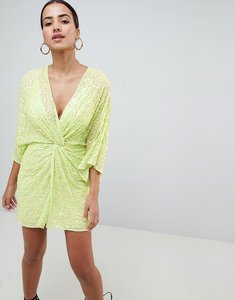Read more about Asos design mini kimono dress in sequin - lime green